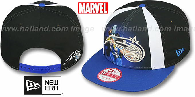 Magic 'MARVEL RETRO-SLICE SNAPBACK' Black-Royal Hat by New Era : pictured without stickers that these products are shipped with