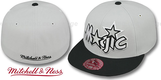 Magic 'MONOCHROME XL-LOGO' Grey-Black Fitted Hat by Mitchell & Ness : pictured without stickers that these products are shipped with