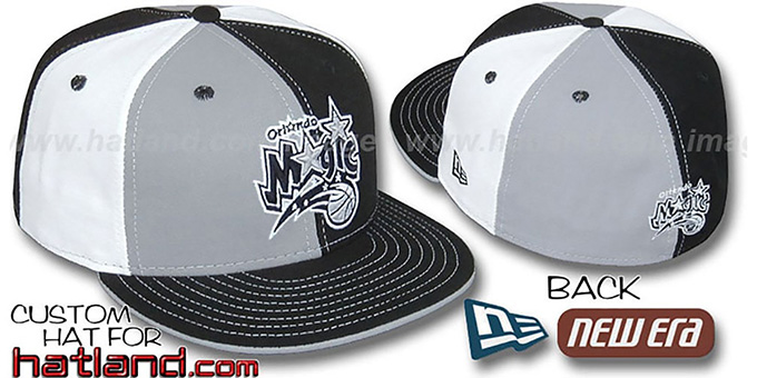 Magic 'PINWHEEL' Grey-Black-White Fitted Hat by New Era : pictured without stickers that these products are shipped with