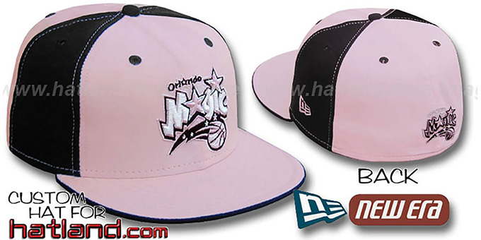 Magic 'PINWHEEL' Light Pink-Black Fitted Hat by New Era : pictured without stickers that these products are shipped with