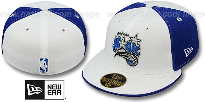 Magic 'PINWHEEL' White-Royal Fitted Hat by New Era : pictured without stickers that these products are shipped with