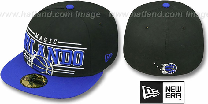 Magic 'RETRO-SMOOTH' Black-Royal Fitted Hat by New Era : pictured without stickers that these products are shipped with
