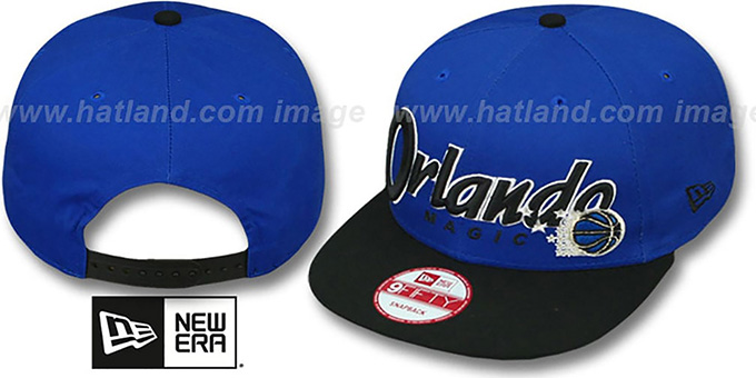Magic 'SNAP-IT-BACK SNAPBACK' Blue-Black Hat by New Era : pictured without stickers that these products are shipped with