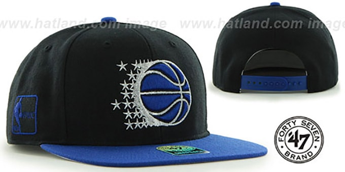 Magic 'SURE-SHOT SNAPBACK' Black-Royal Hat by Twins 47 Brand : pictured without stickers that these products are shipped with