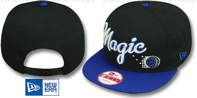 Magic 'SWASH-SCRIPT SNAPBACK' Black-Royal Hat by New Era : pictured without stickers that these products are shipped with
