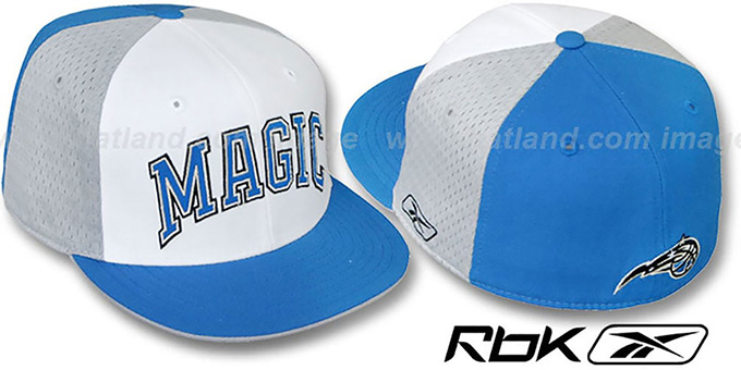 Magic 'SWINGMAN' White-Grey-Blue Fitted Hat by Reebok : pictured without stickers that these products are shipped with
