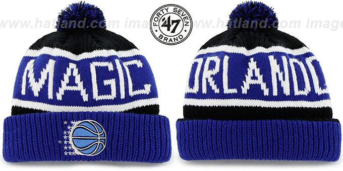 Magic 'THE-CALGARY' Blue-Black Knit Beanie Hat by Twins 47 Brand : pictured without stickers that these products are shipped with