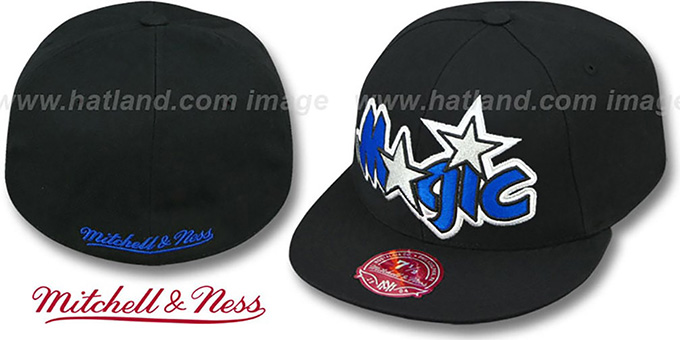 Magic 'XL-LOGO BASIC' Black Fitted Hat by Mitchell & Ness : pictured without stickers that these products are shipped with