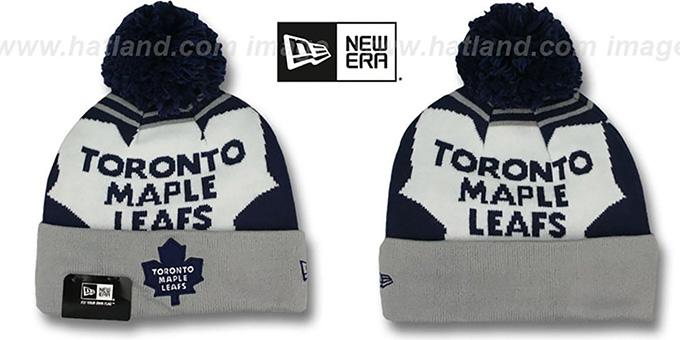 c9c500eafe5 Maple Leafs LOGO WHIZ Navy-Grey Knit Beanie Hat by New Era
