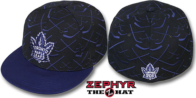 Maple Leafs '2T TOP-SHELF' Black-Navy Fitted Hat by Zephyr : pictured without stickers that these products are shipped with