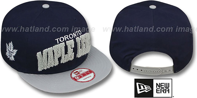 Maple Leafs 'CHENILLE-ARCH SNAPBACK' Navy-Grey Hat by New Era : pictured without stickers that these products are shipped with