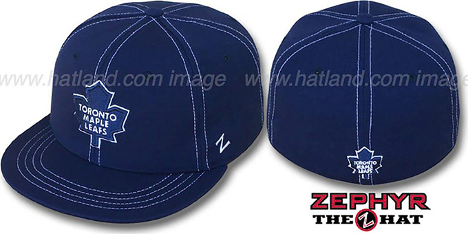 Maple Leafs 'CONTRAST THREAT' Light Navy Fitted Hat by Zephyr : pictured without stickers that these products are shipped with