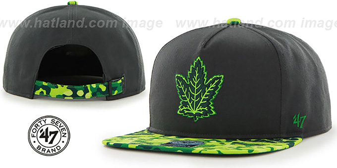 Maple Leafs 'DRYTOP STRAPBACK' Grey Hat by Twins 47 Brand : pictured without stickers that these products are shipped with