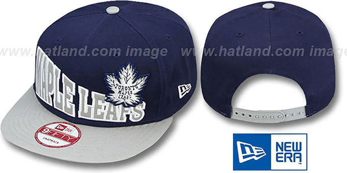 Maple Leafs 'STOKED SNAPBACK' Navy-Grey Hat by New Era : pictured without stickers that these products are shipped with