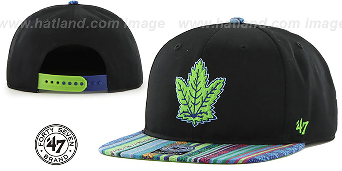 Maple Leafs 'THE-DUDE SNAPBACK' Black-Green Hat by Twins 47 Brand : pictured without stickers that these products are shipped with