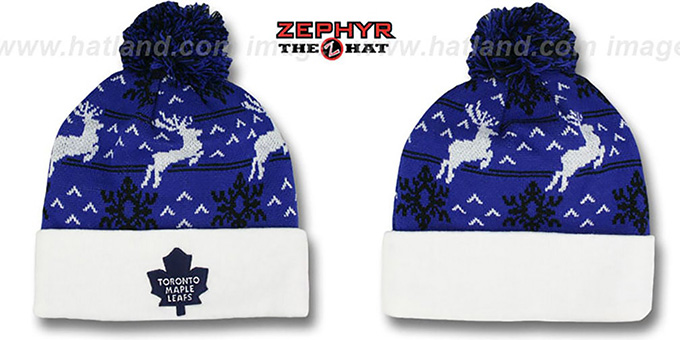 Maple Leafs 'UGLY SWEATER' White-Royal Knit Beanie Hat by Zephyr : pictured without stickers that these products are shipped with