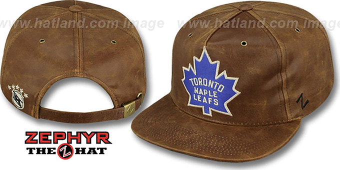 Maples Leafs 'DYNASTY LEATHER STRAPBACK' Brown Hat Zephyr : pictured without stickers that these products are shipped with