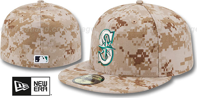 Mariners 2013 'STARS N STRIPES' Desert Camo Hat by New Era : pictured without stickers that these products are shipped with