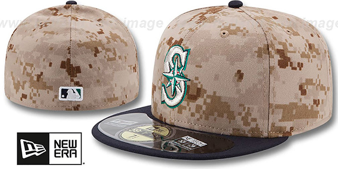 Mariners '2014 STARS N STRIPES' Fitted Hat by New Era : pictured without stickers that these products are shipped with