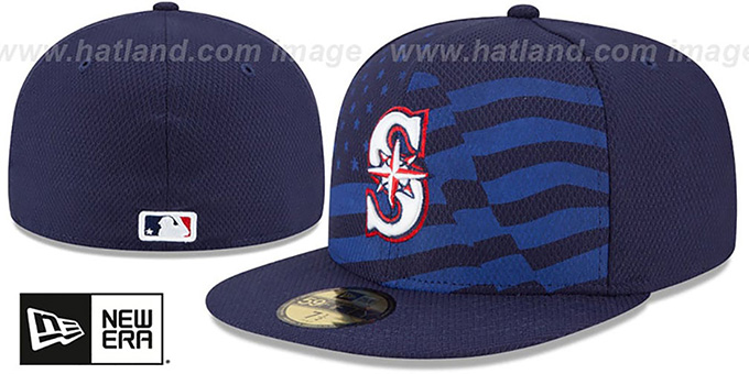 Mariners '2015 JULY 4TH STARS N STRIPES' Hat by New Era : pictured without stickers that these products are shipped with