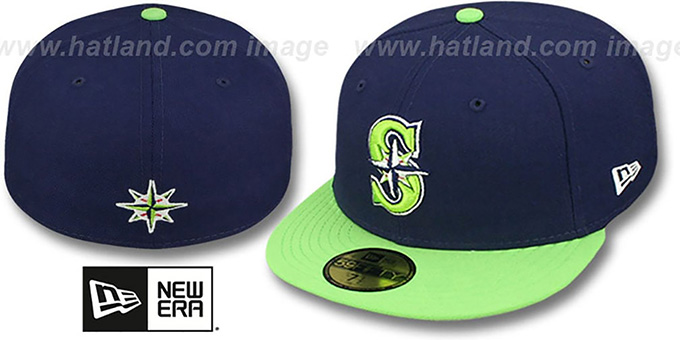 Mariners '2T OPPOSITE-TEAM' Navy-Lime Fitted Hat by New Era : pictured without stickers that these products are shipped with