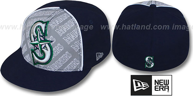 Mariners 'ANGLEBAR' Navy-Grey Fitted Hat by New Era : pictured without stickers that these products are shipped with