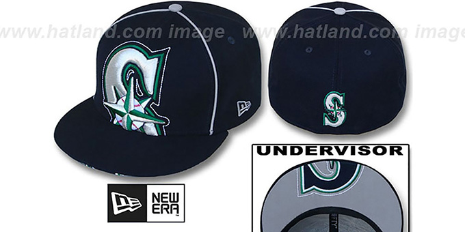 Mariners 'BIG-UNDER' Navy Fitted Hat by New Era : pictured without stickers that these products are shipped with