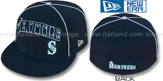 Mariners 'CITY-FLAWLESS' Navy Fitted Hat by New Era : pictured without stickers that these products are shipped with