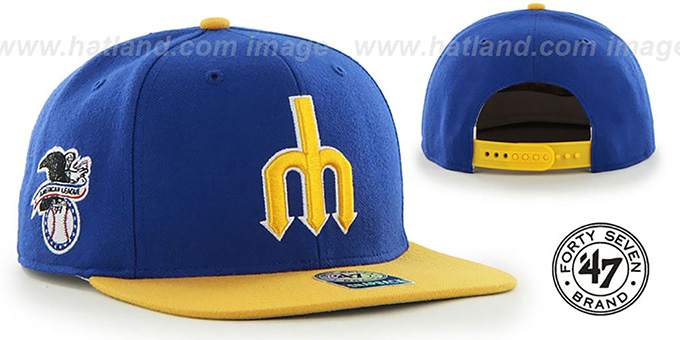 Mariners COOP 'SURE-SHOT SNAPBACK' Royal-Gold Hat by Twins 47 Brand : pictured without stickers that these products are shipped with