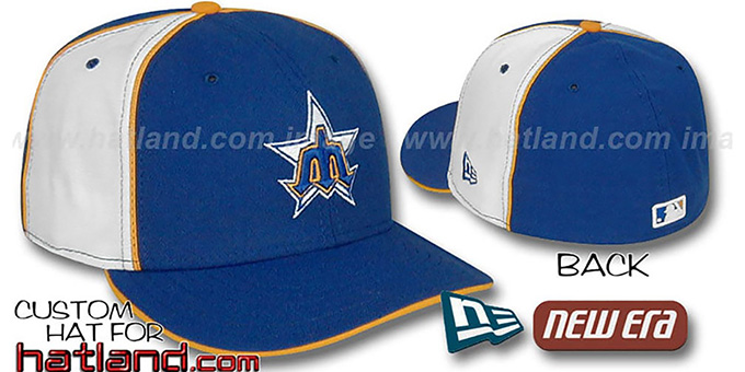 Mariners COOPERSTOWN 'PINWHEEL-2' Royal-White Fitted Hat : pictured without stickers that these products are shipped with