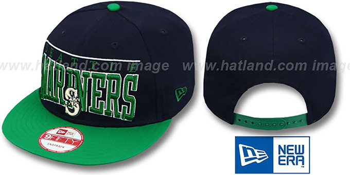 Mariners 'LE-ARCH SNAPBACK' Navy-Green Hat by New Era : pictured without stickers that these products are shipped with
