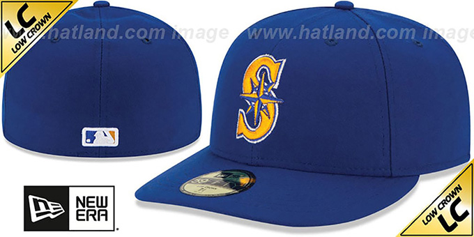 Mariners 'LOW-CROWN' ALTERNATE-2 Fitted Hat by New Era : pictured without stickers that these products are shipped with