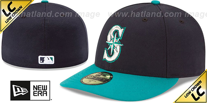 Mariners 'LOW-CROWN' ALTERNATE Fitted Hat by New Era : pictured without stickers that these products are shipped with