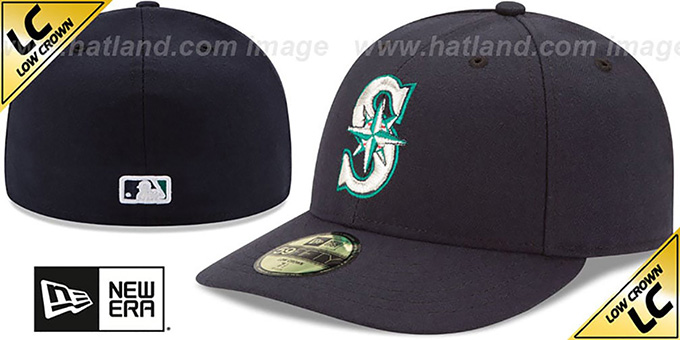 Mariners 'LOW-CROWN' GAME Fitted Hat by New Era : pictured without stickers that these products are shipped with