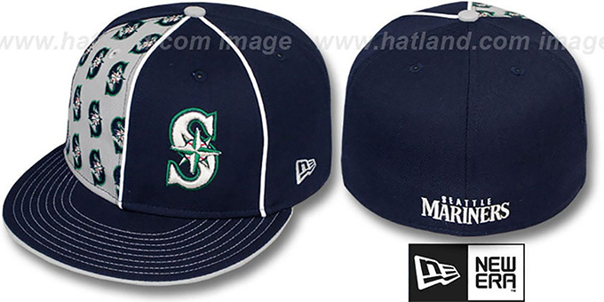 Mariners 'MULTIPLY' Navy-Grey Fitted Hat by New Era : pictured without stickers that these products are shipped with