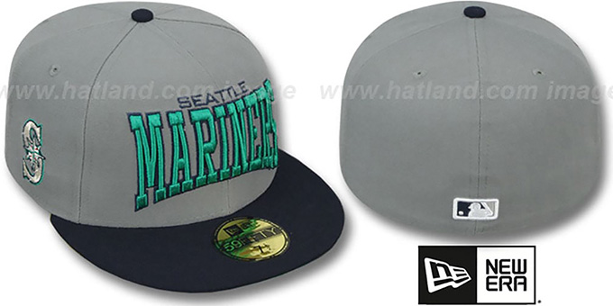 Mariners 'PRO-ARCH' Grey-Navy Fitted Hat by New Era : pictured without stickers that these products are shipped with
