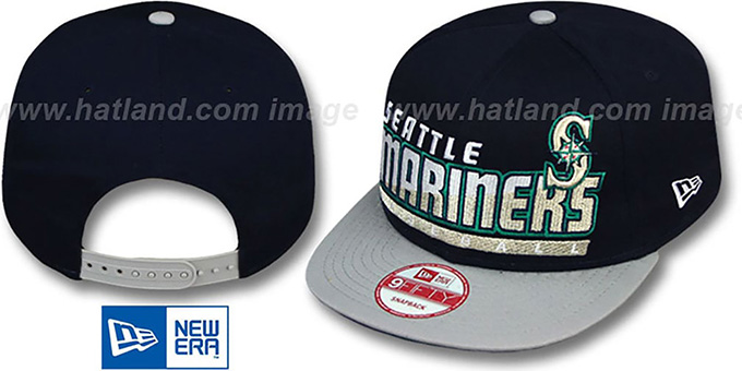 Mariners 'SLICE-N-DICE SNAPBACK' Navy-Grey Hat by New Era : pictured without stickers that these products are shipped with