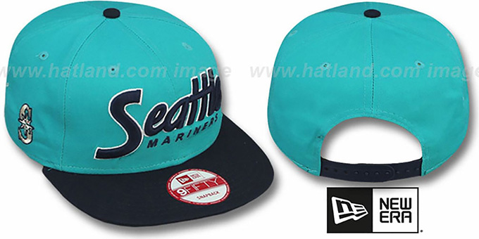 Mariners 'SNAP-IT-BACK SNAPBACK' Teal-Navy Hat by New Era : pictured without stickers that these products are shipped with