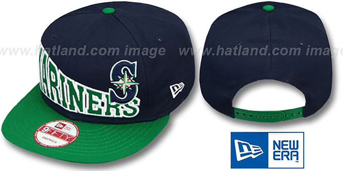 Mariners 'STOKED SNAPBACK' Navy-Green Hat by New Era : pictured without stickers that these products are shipped with