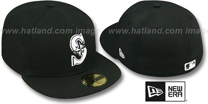 Mariners 'TEAM-BASIC' Black-White Fitted Hat by New Era : pictured without stickers that these products are shipped with