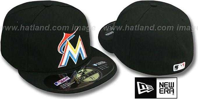 Marlins  'PERFORMANCE HOME' Hat by New Era : pictured without stickers that these products are shipped with