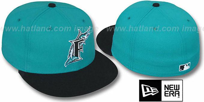 Marlins 1995 COOP 'ROAD' Fitted Hat by New Era : pictured without stickers that these products are shipped with
