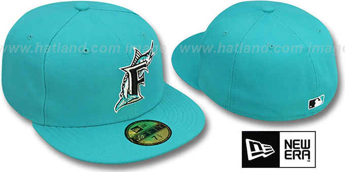 Marlins 1999 'COOP' ALTERNATE Fitted Hat by New Era : pictured without stickers that these products are shipped with