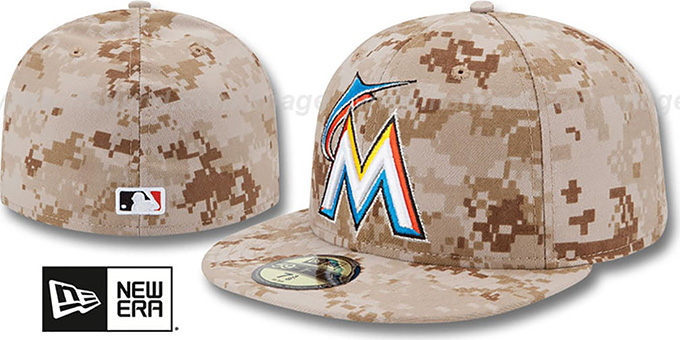 Marlins 2013 'STARS N STRIPES' Desert Camo Hat by New Era : pictured without stickers that these products are shipped with