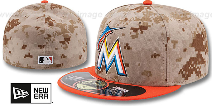 Marlins '2014 STARS N STRIPES' Fitted Hat by New Era : pictured without stickers that these products are shipped with