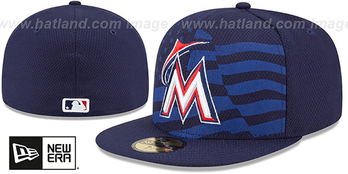 Marlins '2015 JULY 4TH STARS N STRIPES' Hat by New Era : pictured without stickers that these products are shipped with
