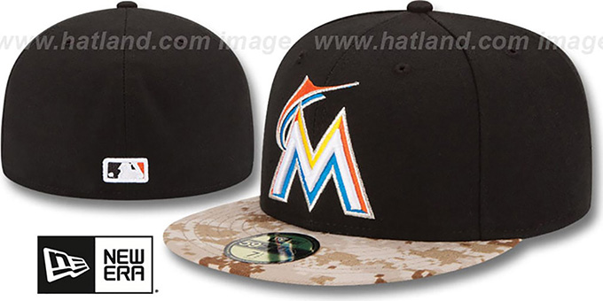 Marlins '2015 STARS N STRIPES' Fitted Hat by New Era : pictured without stickers that these products are shipped with