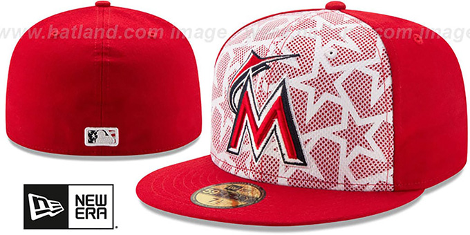 Marlins '2016 JULY 4TH STARS N STRIPES' Fitted Hat by New Era : pictured without stickers that these products are shipped with