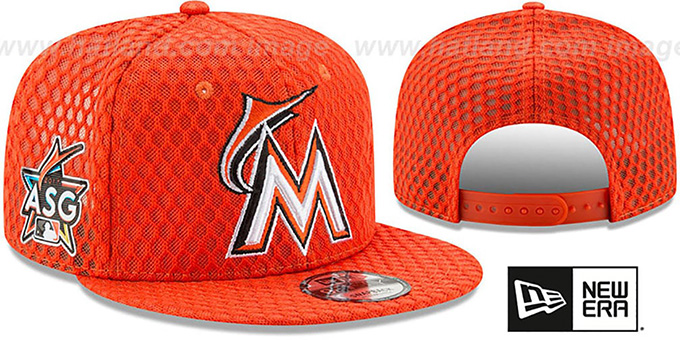 Marlins '2017 MLB HOME RUN DERBY SNAPBACK' Orange Hat by New Era : pictured without stickers that these products are shipped with