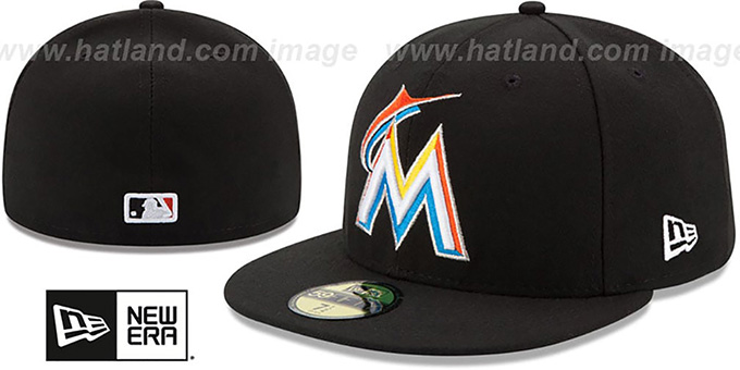 Marlins '2017 ONFIELD HOME' Hat by New Era : pictured without stickers that these products are shipped with